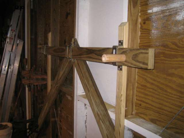 """built a """"Conan"""" style 2x4 slider bolt lock, also added diagonals for"""